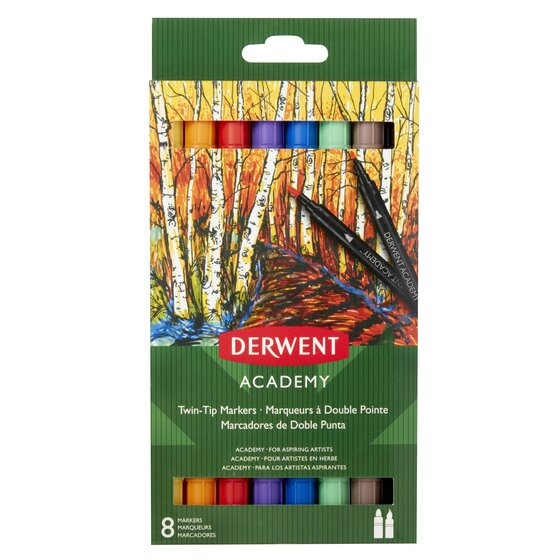 Derwent Academy Twin Tip (Brush) Markers