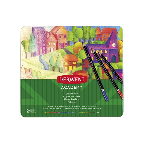 Derwent Academy Colored Pencils, 3.3mm Core, Metal Tin, 24 Count