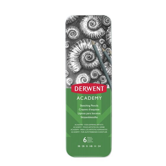 Derwent Academy Sketching Pencils, 6 Degrees of Hardness, Metal Tin, 6 Count