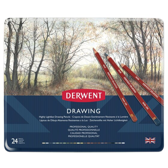 Derwent Colored Drawing Pencils, Metal Tin, 24 Count
