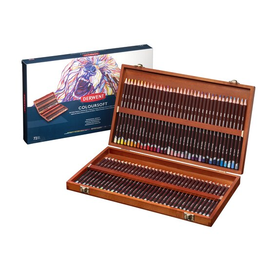 Derwent Colorsoft Pencils, 4mm Core, Wooden Box, 72 Count