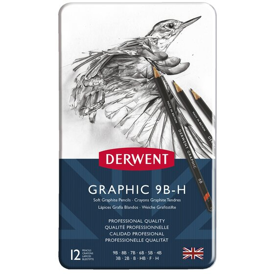 Derwent Graphic Pencils, Soft, Metal Tin, 12 Count