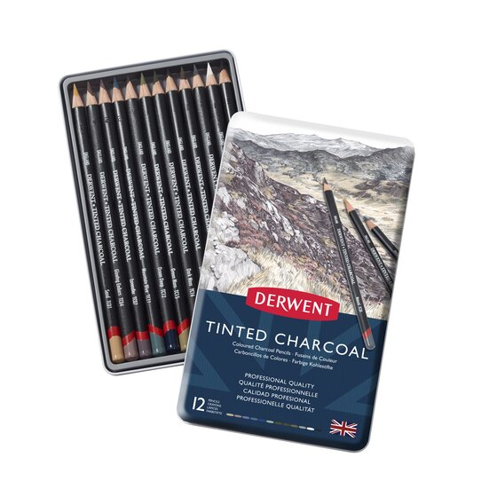 Derwent Tinted Charcoal Pencils, 4mm Core, Metal Tin, 12 Count