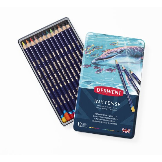 Derwent Inktense Pencils, 4mm Core, Metal Tin, 12 Count