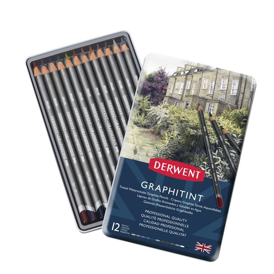Derwent Graphitint Pencils, Metal Tin, 12 Count