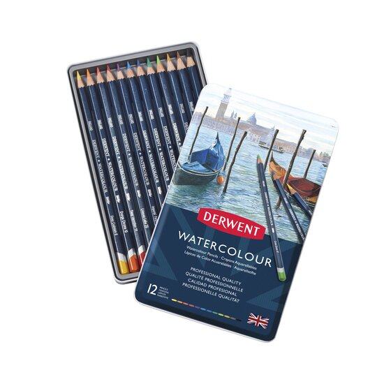 Derwent Watercolor Pencils, 3.4mm Core, Metal Tin, 12 Count