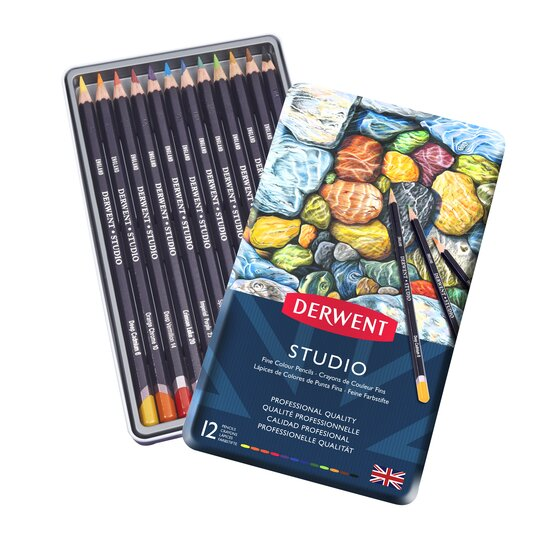 Derwent Studio Colored Pencils, 3.4mm Core, Metal Tin, 12 Count