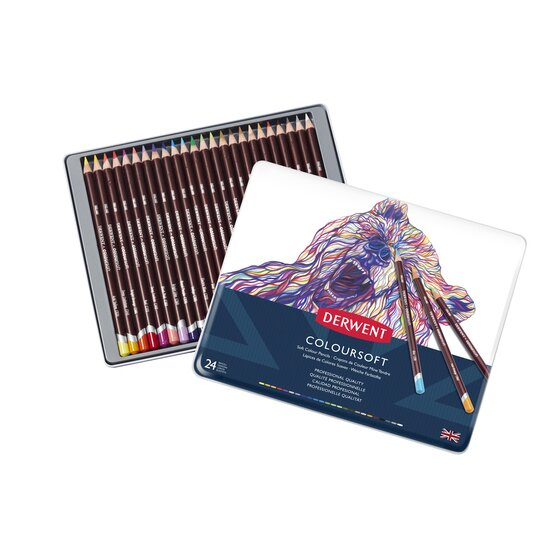Derwent Colorsoft Pencils, 4mm Core, Metal Tin, 24 Count