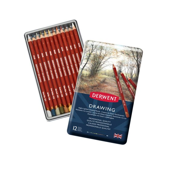 Derwent Colored Drawing Pencils, 5mm Core, Metal Tin, 12 Count