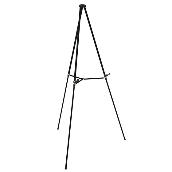 """Aluminum Lightweight Telescoping Display Easel, 66"""", Supports 25 lbs., Black"""