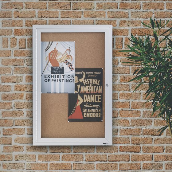 Quartet Classic Style Enclosed Cork Bulletin Boards for Indoor Use, Swing Door