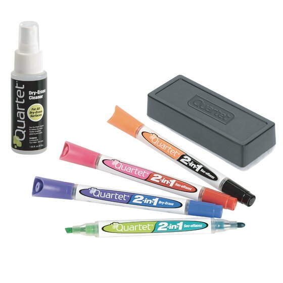 2-in-1 Dry-Erase Kit, Chisel/Fine Tip Dry-Erase Markers, Eraser, Spray Cleaner