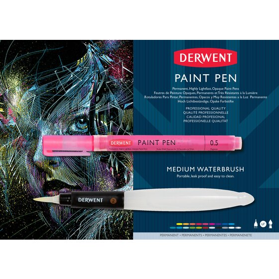 Derwent Paint Pen & Waterbrush Sample Card
