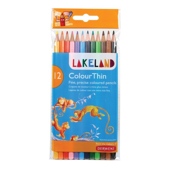 Derwent Lakeland Colorthin Pencils, 2.9mm Core, Wallet, 12 Count (0700077)