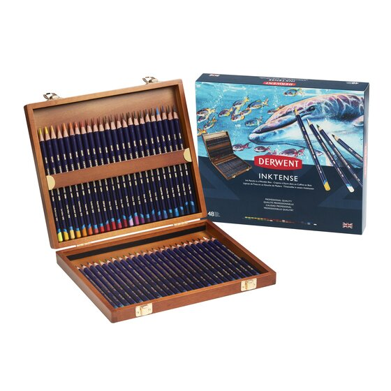 Derwent Inktense Pencils, 4mm Core, Wooden Box, 48 Count