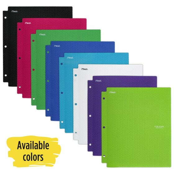 Five Star Plastic And Prong Folder, Assorted Colors