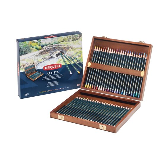 Derwent Artists Color Pencils, 4mm Core, Wooden Box, 48 Count
