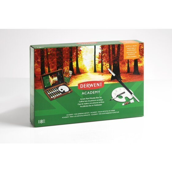 Derwent Acrylic Paint Wooden Box Set