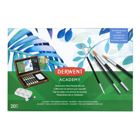 Derwent Watercolour Paint Wooden Box Set