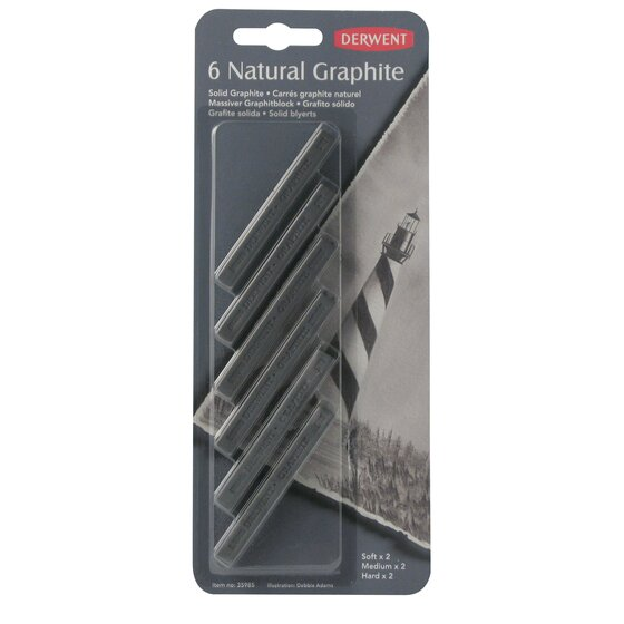 Derwent Natural Graphite Blocks, Pack, 6 Count
