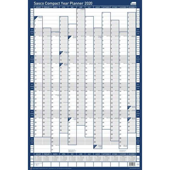 Sasco Unmounted Compact Year Planner Portrait 2020