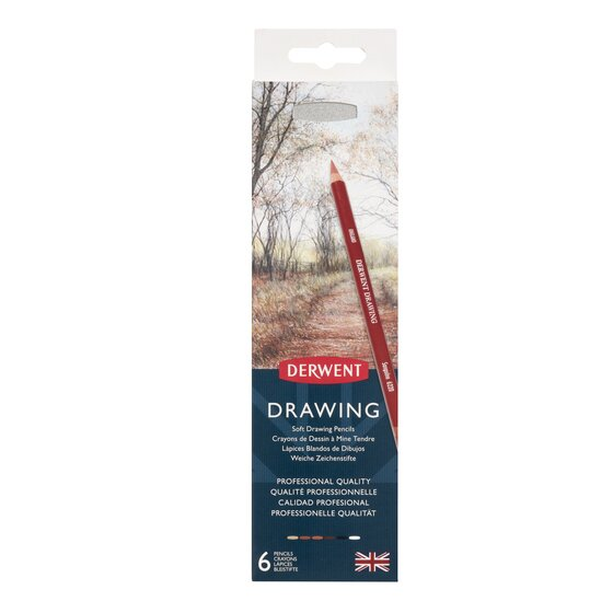 Derwent Drawing Pencils and Accessories, Soft, Metal Tin, 6 Count