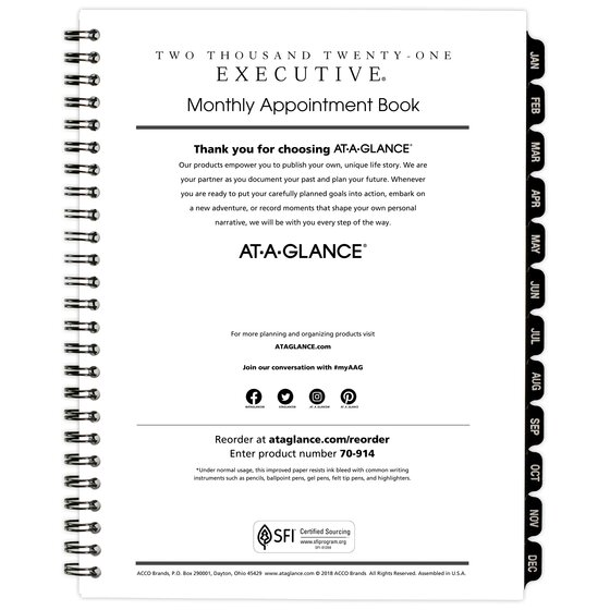 70-907-10 Executive AT-A-GLANCE Weekly // Monthly Planner Refill 2017 3-1//4 x 6-1//4