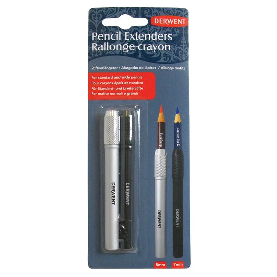 Derwent Pencil Extender Set, Silver and Black, For Pencils up to 8mm, 2 Pack