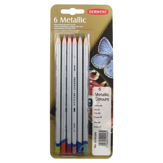 Derwent Metallic Colored Pencils, Pack, 6 Count
