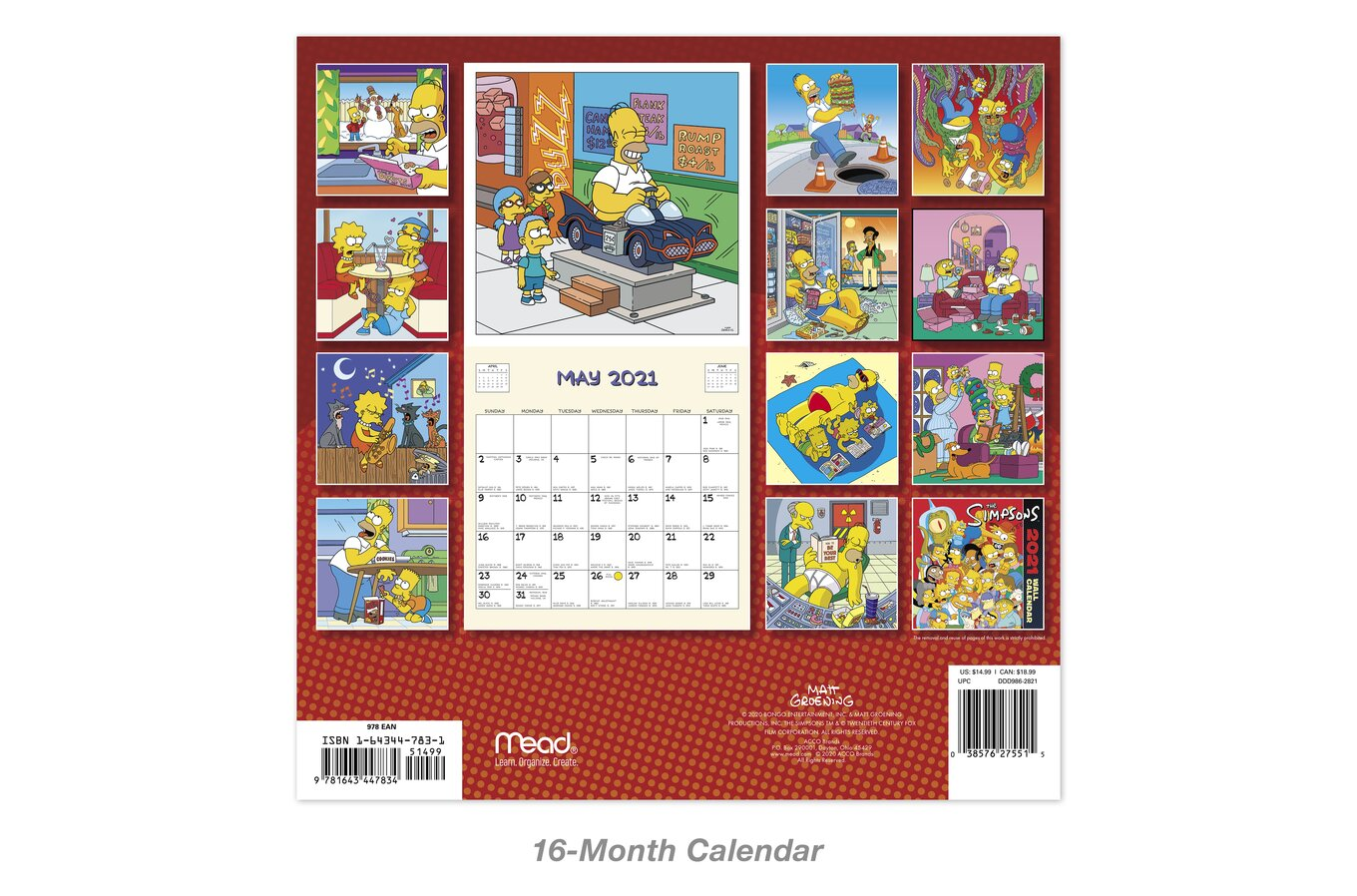 the simpsons monthly wall calendars wall calendars mead the simpsons monthly wall calendars
