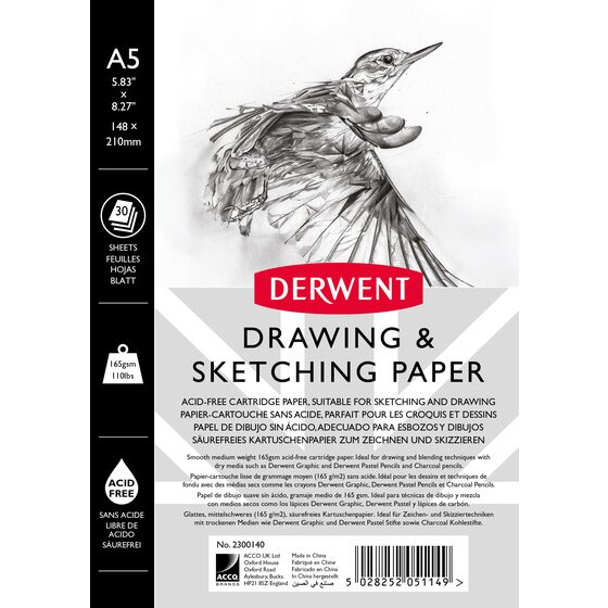 Derwent Sketch Pad, A5, Portrait, 5.83 x 8.27 Inch Sheet Size, Wirebound, 30 Sheets