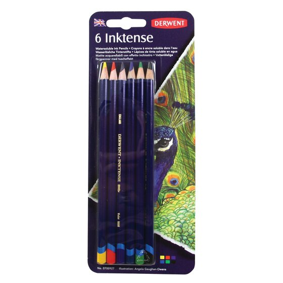 Derwent Inktense Pencils, 4mm Core, Pack, 6 Count